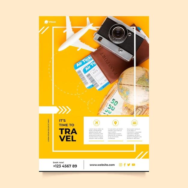 Plantilla de cartel de viaje con foto Vector Premium