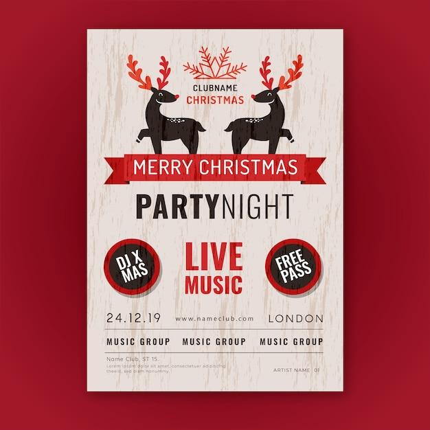 Plantilla de cartel vintage fiesta de navidad vector gratuito