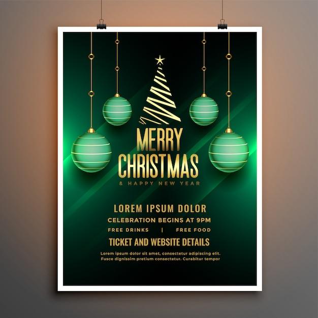 Plantilla de cartel de volante verde de navidad con bola y árbol vector gratuito