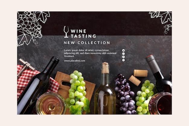 Plantilla de cata de vinos de banner vector gratuito