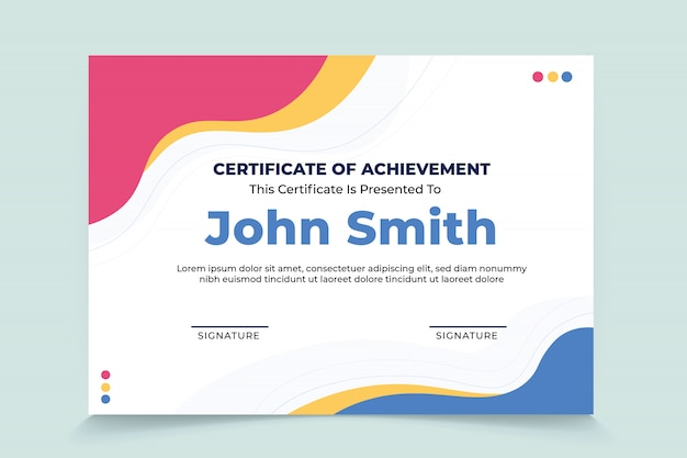 Plantilla de certificado de agradecimiento de onda abstracta Vector Premium