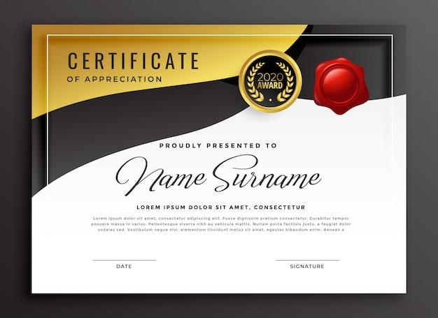 Plantilla de certificado de apreciación de oro vector gratuito