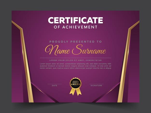 Plantilla de certificado y diploma profesional elegante azul y dorado Vector Premium