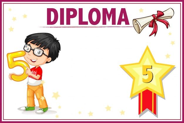 Plantilla de certificado de diploma de quinto grado vector gratuito
