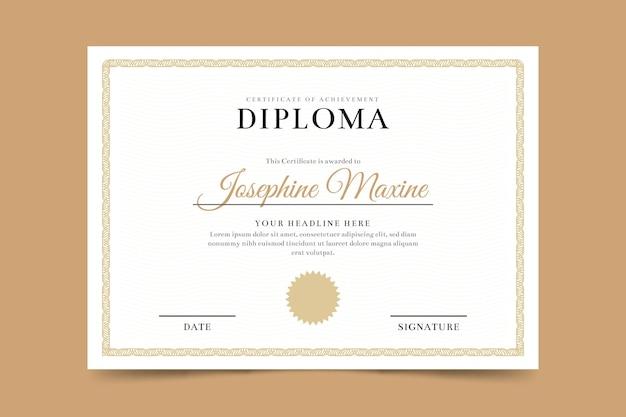 Plantilla de certificado de diploma Vector Premium