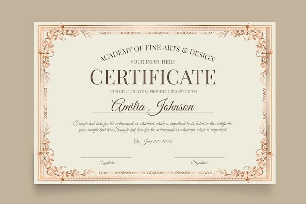 Plantilla de certificado elegante blanco vector gratuito
