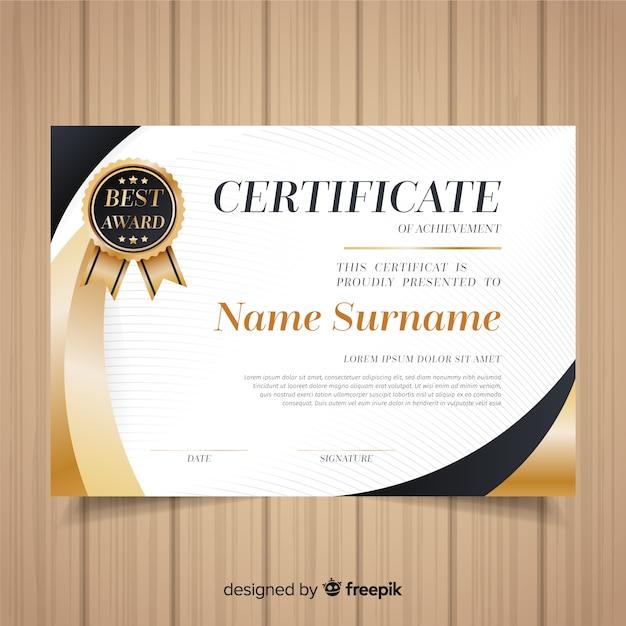 plantilla de certificado con elementos dorados