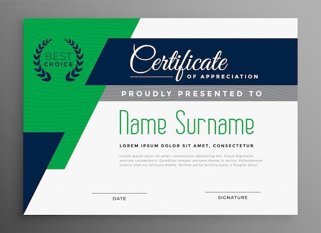 Plantilla de certificado con formas geométricas modernas. vector gratuito