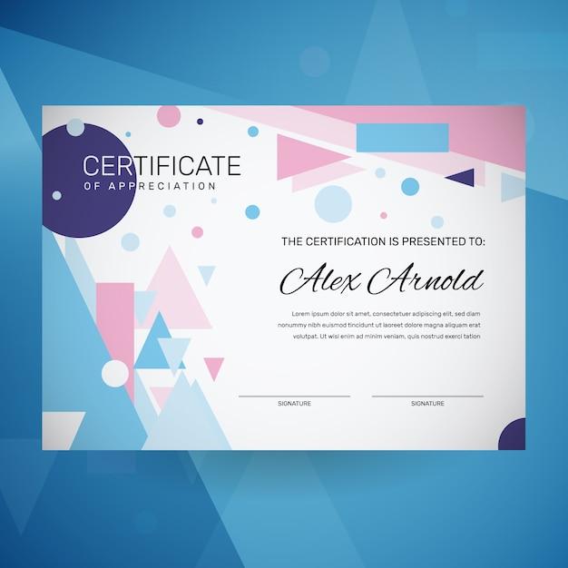 Plantilla de certificado geométrico abstracto vector gratuito