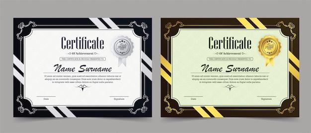 Plantilla de certificado de logros Vector Premium