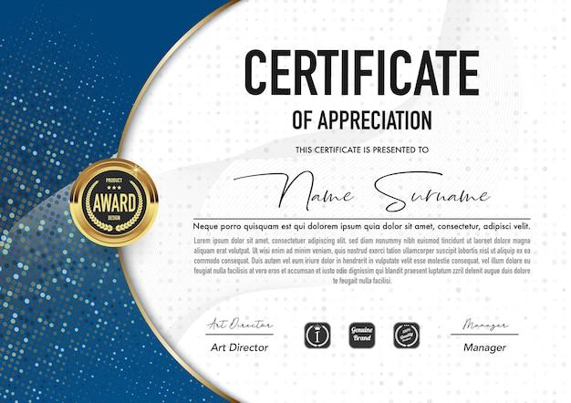 Plantilla de certificado de lujo y estilo diploma. Vector Premium