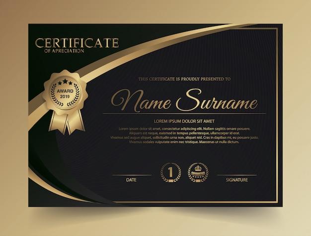 Plantilla de certificado con lujo y patrón moderno, diploma, ilustración vectorial Vector Premium