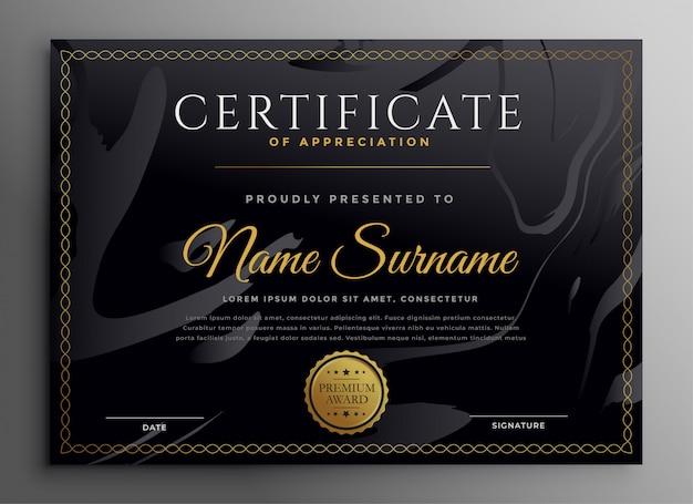 Plantilla de certificado multiusos en diseño de tema dorado oscuro vector gratuito