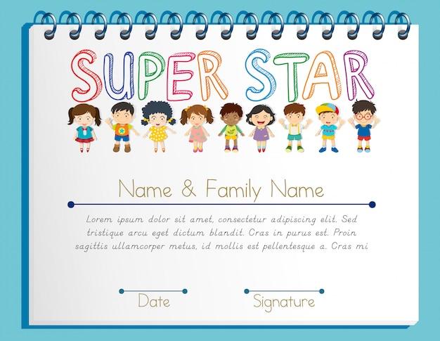 Plantilla de certificado para super estrella con muchos niños. vector gratuito