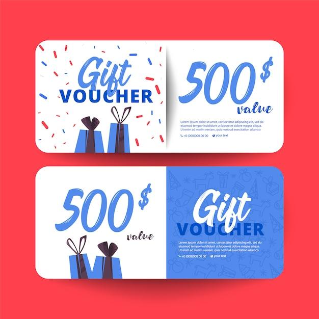 Plantilla de cheque regalo con corazones y una caja de regalo. Vector Premium