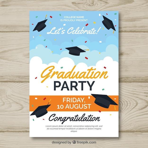Plantilla clásica de invitación a graduación con diseño plano vector gratuito