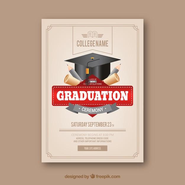 Plantilla clásica de invitación a graduación con diseño realista vector gratuito