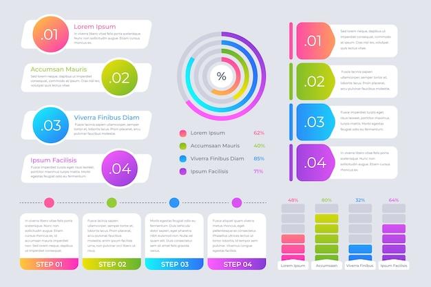 Plantilla de colección de elementos de infografía vector gratuito