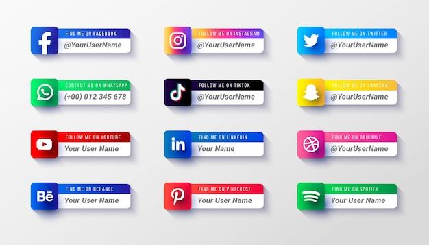 Plantilla de colección de iconos de tercio inferior de redes sociales modernas vector gratuito