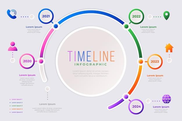 Plantilla de colección de infografía de línea de tiempo vector gratuito