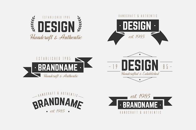 Plantilla de colección de logo retro vector gratuito