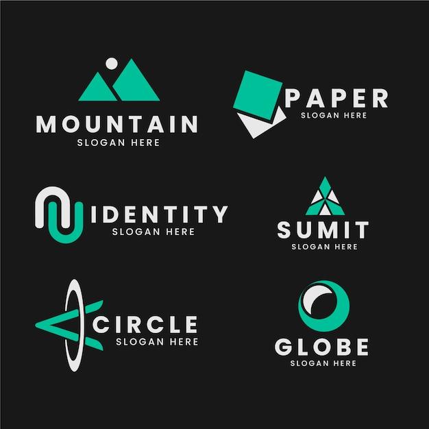 Plantilla de colección de logotipo minimalista en dos colores. vector gratuito