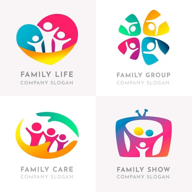 Plantilla de colección de logotipos familiares vector gratuito