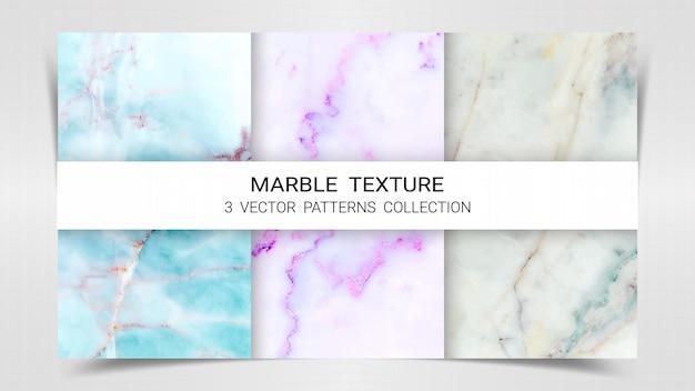 Plantilla de colección de patrones de patrones de mármol premium. Vector Premium