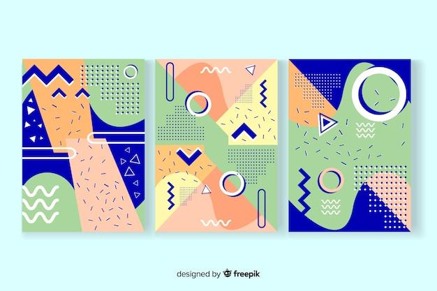 Plantilla de colección de portadas de memphis vector gratuito