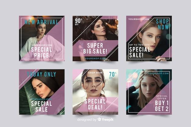 Plantilla de colección de publicaciones de instagram con foto Vector Premium