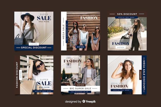 Plantilla de colección de publicaciones de instagram con foto vector gratuito