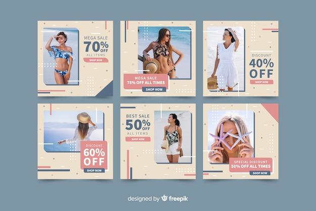 Plantilla de colección de publicaciones de instagram con imagen vector gratuito