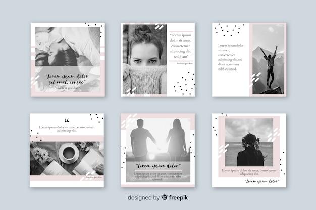 Plantilla de colección de publicaciones de instagram vector gratuito