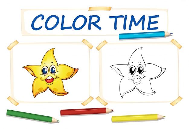 Plantilla Para Colorear Con Estrella Feliz Descargar Vectores Premium