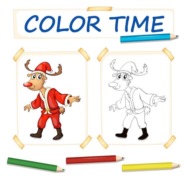 Plantilla para colorear con renos en traje de santa | Descargar ...