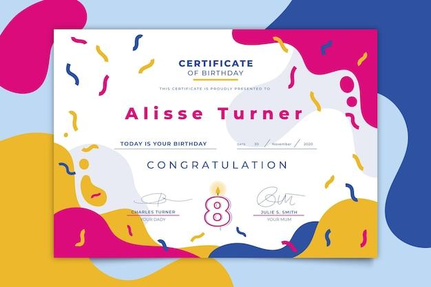 Plantilla colorida de certificado de cumpleaños vector gratuito