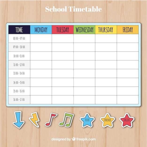 Plantilla colorida de calendario escolar | Descargar Vectores gratis
