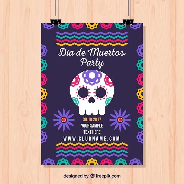Plantilla colorida de póster de fiesta mexicana Vector Gratis