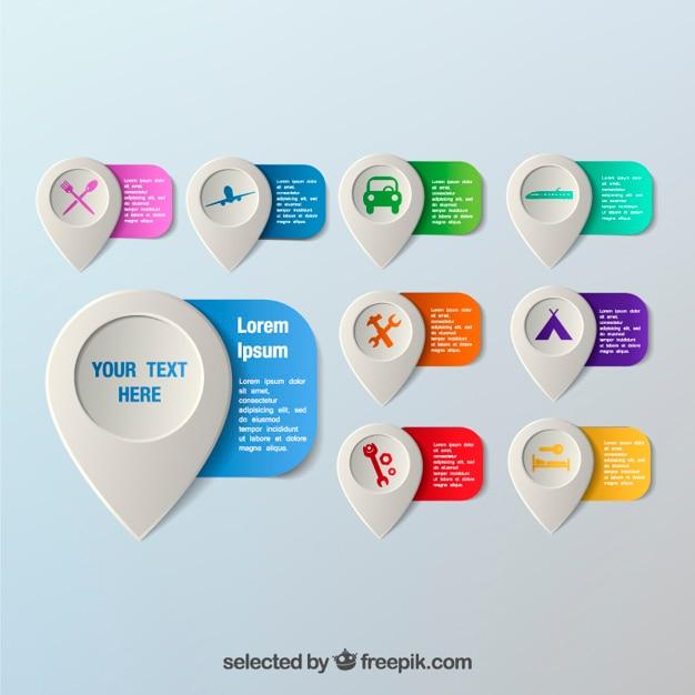 Plantilla colorida de punteros de mapa | Descargar Vectores gratis