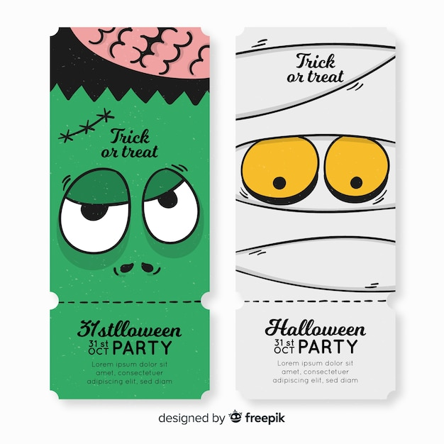 Plantilla colorida de entradas de fiesta de halloween dibujada a mano vector gratuito