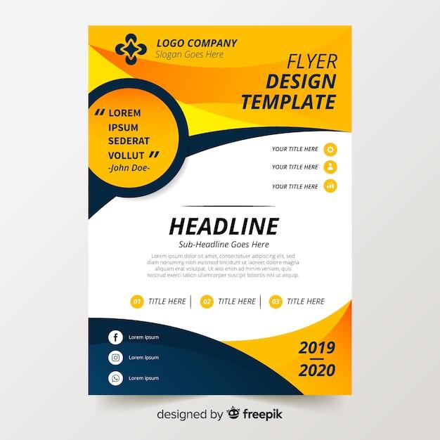 Plantilla colorida de folleto con diseño plano vector gratuito