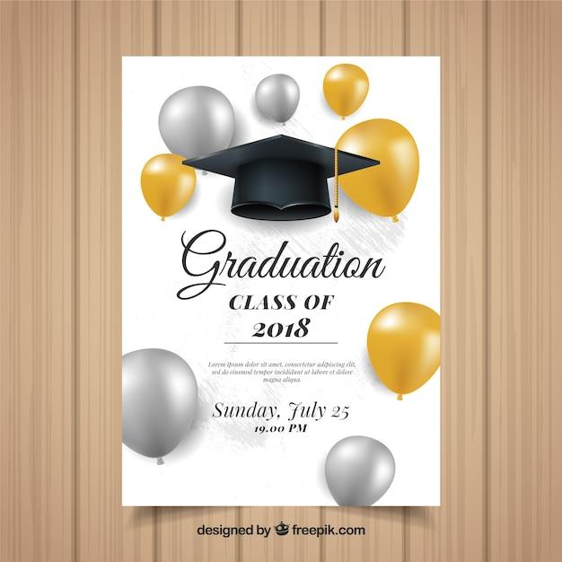 Plantilla colorida de invitación a graduación con diseño realista vector gratuito