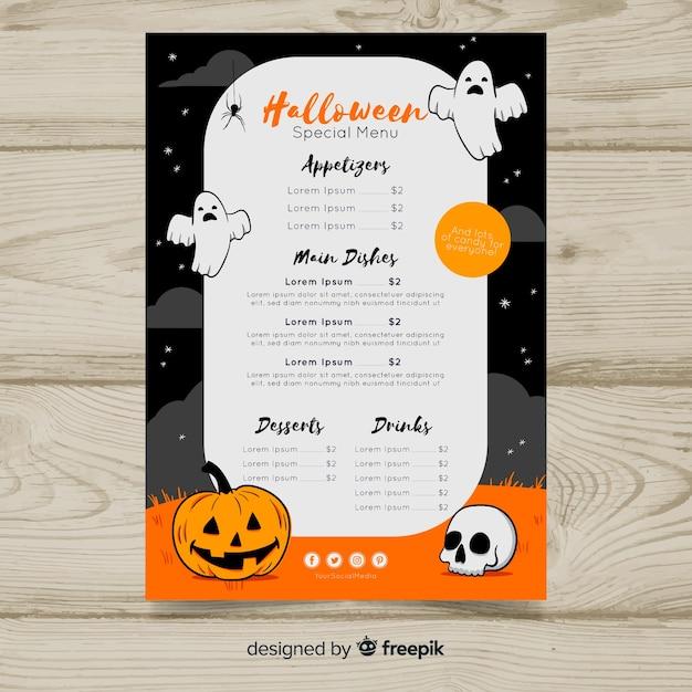 Plantilla colorida de menú de halloween dibujado a mano | Descargar ...