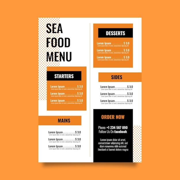 Plantilla colorida del menú del restaurante vector gratuito