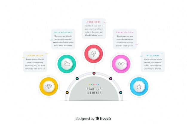 Plantilla colorida de pasos de infografía vector gratuito