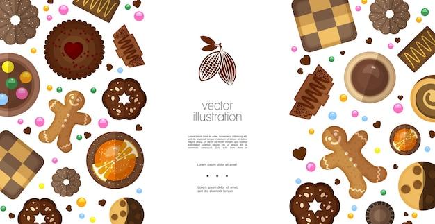 Plantilla colorida de productos dulces planos vector gratuito