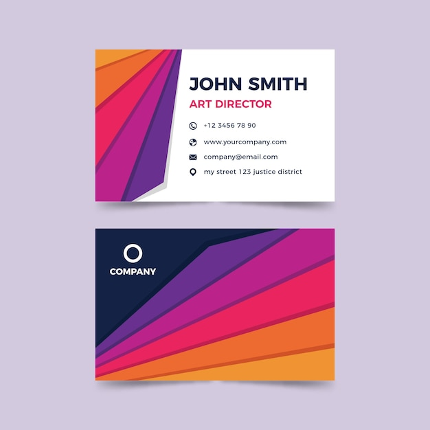 Plantilla colorida de tarjeta de visita abstracta vector gratuito