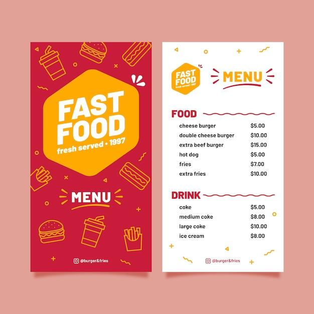 Plantilla de comida rápida para restaurante vector gratuito