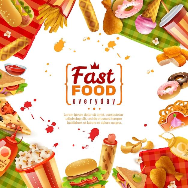 Plantilla de comida rápida vector gratuito