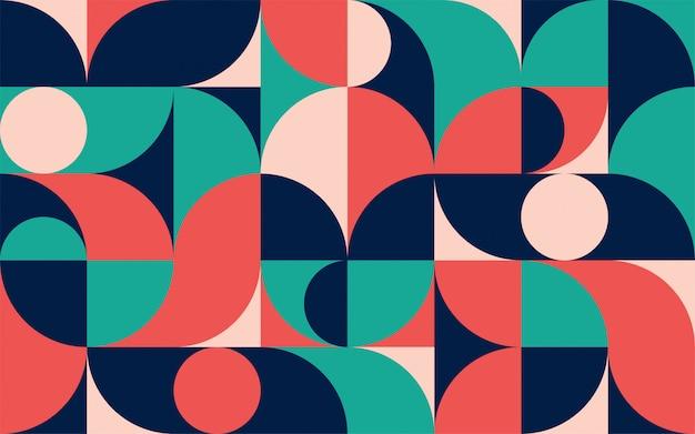 Plantilla de composición de color minimalista geométrica con formas. patrón abstracto escandinavo para banner web, packaging, branding. Vector Premium